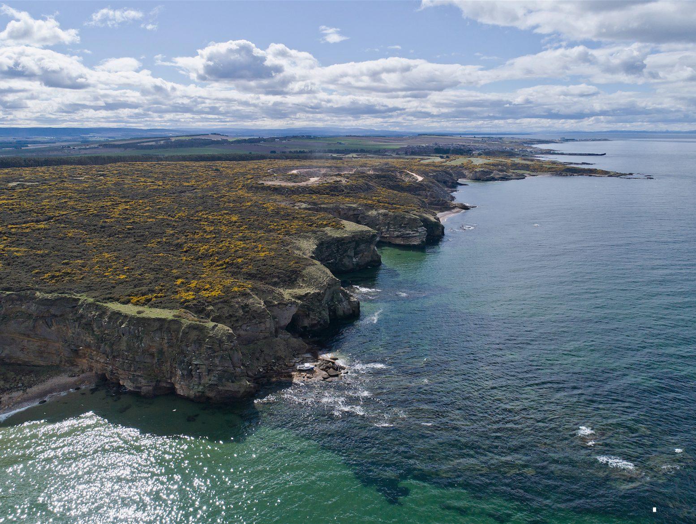Clashach Moray Cove Bay Pinochet Bay aerial Primrose Bay