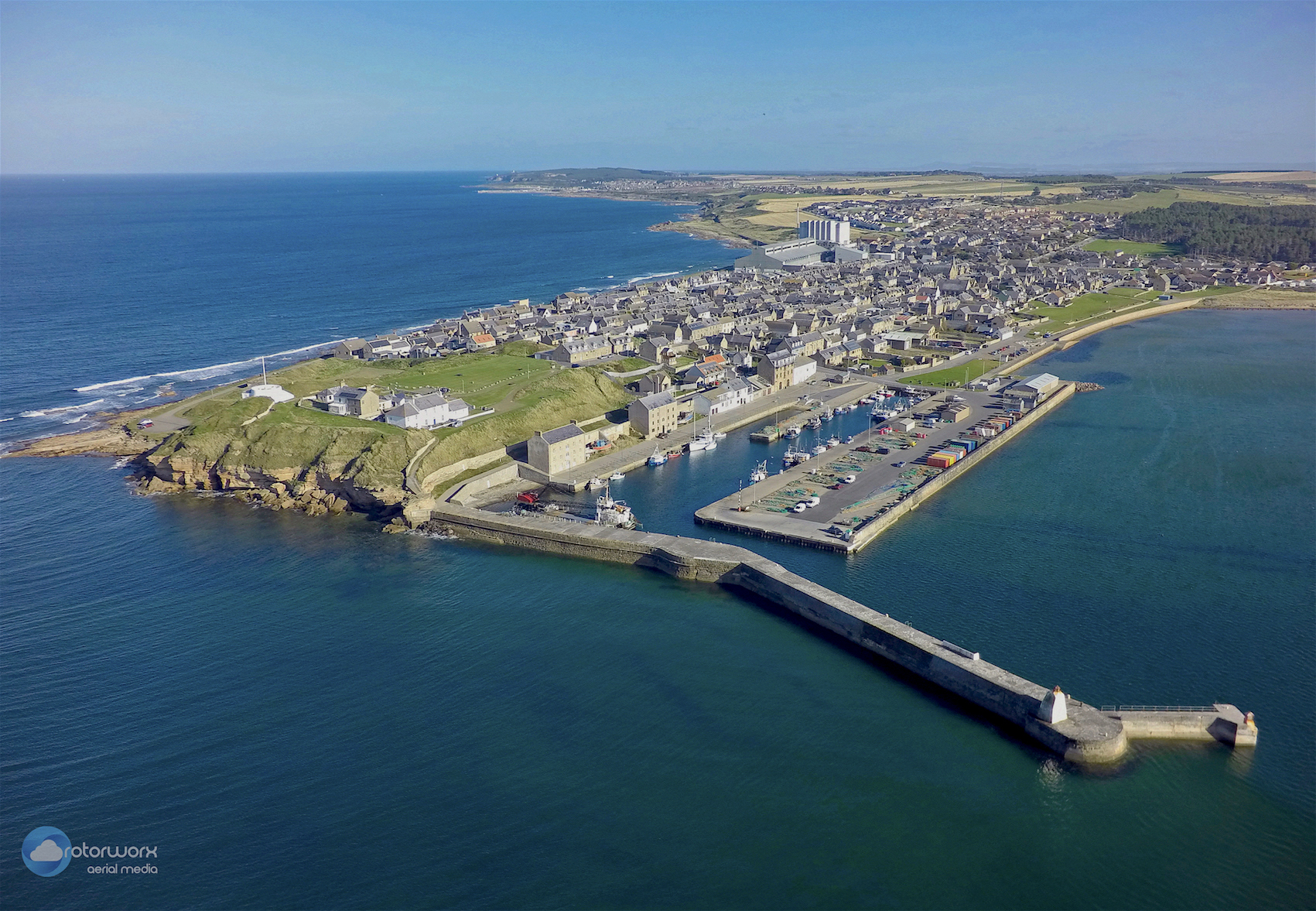 aerial filming moray burghead